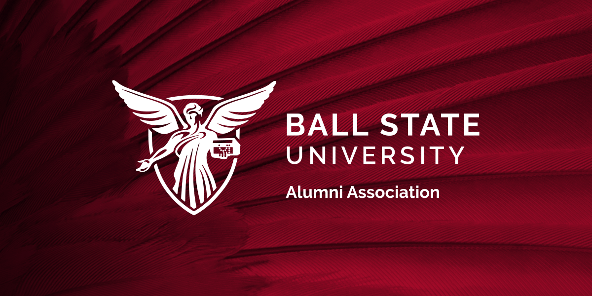 Ball State University Alumni Association logo on a red feather background